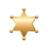 Shiny gold sheriff star, isolated on white background. Vector illustration.