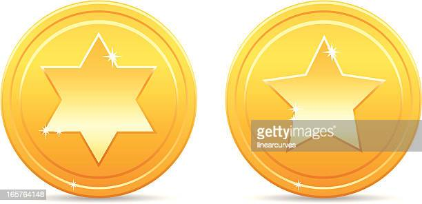Shiny golden star coins