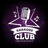 Shiny karaoke club vector label design. Karaoke music club label illustration