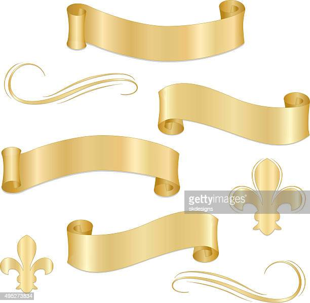 Shiny Metallic Gold Ribbons, Banners, Fleur de Lys, Ornaments Set