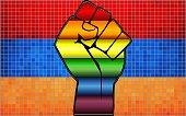 Shiny Protest Fist on a Armenia Flag - Illustration,  Abstract Mosaic Armenia and Gay flags