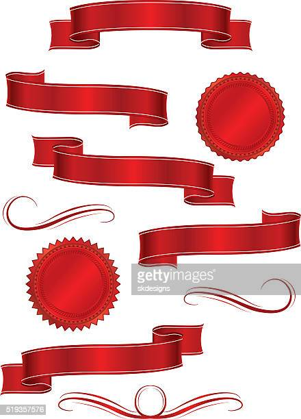 Shiny Red Metallic Satin Banners, Ribbons Set