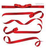 Shiny red ribbon. Vector illustration.