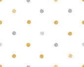 Background with shiny golden and silver glitter dots decoration. Seamless pattern. Great for christmas and birthday cards, celebration posters, wedding invitations. EPS10 vector illustration.
