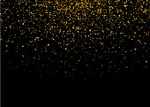 Shiny Star Burst Light with Gold Luxury Sparkles. Magic Golden Light Effect. Vector Illustration on Black Background.