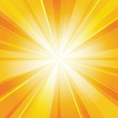 Shiny sun radiator vector background. Sunny rays radiating light yellow pattern