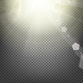 Shiny sunburst of sunbeams on the abstract sunshine background and transparency background. Vector illustration.