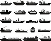 Ship and boat icon set. Vector illustration