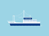 Ship icon isolated on blue. Vector boat