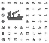 Ship icon. Transport and Logistics set icons. Transportation set icons.