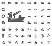 Ship icon. Transport and Logistics set icons. Transportation set icons.
