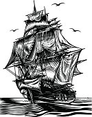 Ship engraving picture. Vector illustration