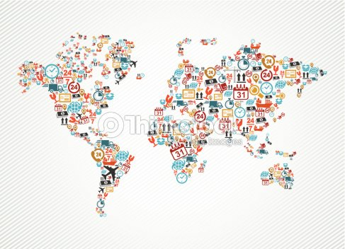 Shipping and delivery icons in world map shape illustration vector shipping and delivery icons in world map shape illustration vector art gumiabroncs Image collections