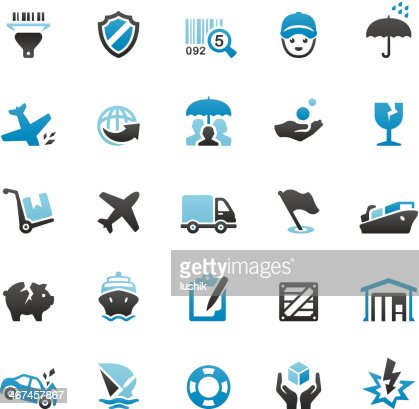 Shipping And Insurance Icons Set Vector Art   Getty Images