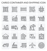 Vector line icon of cargo container and shipping work.