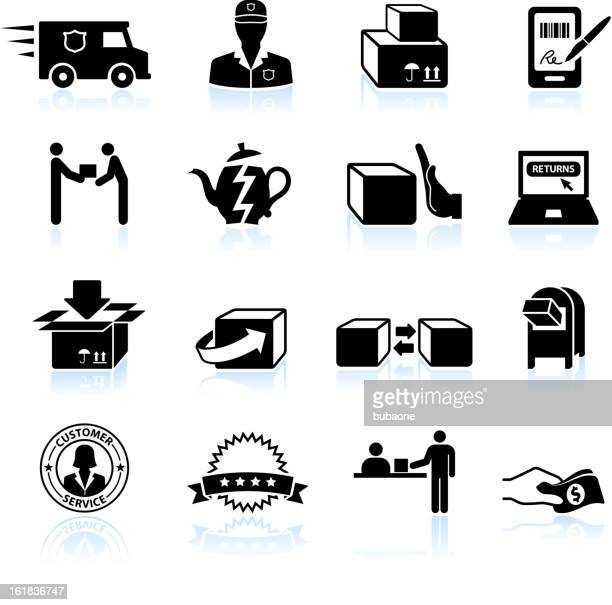 Shipping, Return and Exchange black & white vector icon set