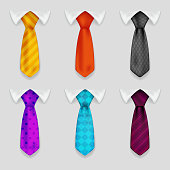 Shirt tie realistic icons set bacground 3d design vector illustration