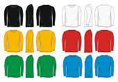shirt long sleeve front, side, back, colorful vector image
