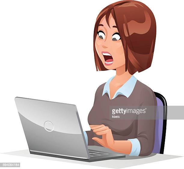 Shocked Woman At Laptop