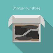 Shoes in box. Simple flat style vector illustration.