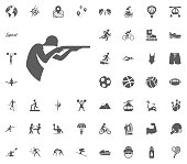 Shooting icon. Sport illustration vector set icons. Set of 48 sport icons