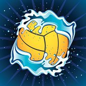 Illustration of water polo ball in the water. Shooting Water Polo Ball to the goal.