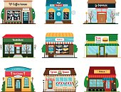Shop and cafe colorful icons collection on white background. Bookstore, coffee house and oriental food restauran vector icons