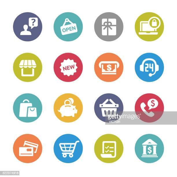 Boutiques et d'acheter la série d'icônes-cercle