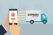 "Shopping and express delivery concept. Hand press button ""buy it now"" on mobile phone and delivery truck sending to buyer. Vector illustration."