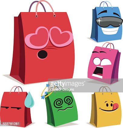 Shopping Bag Cartoon Set A Vector Art | Getty Images