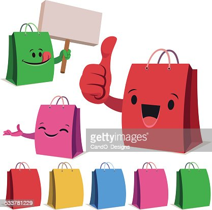 Shopping Bag Cartoon Set B Vector Art | Getty Images