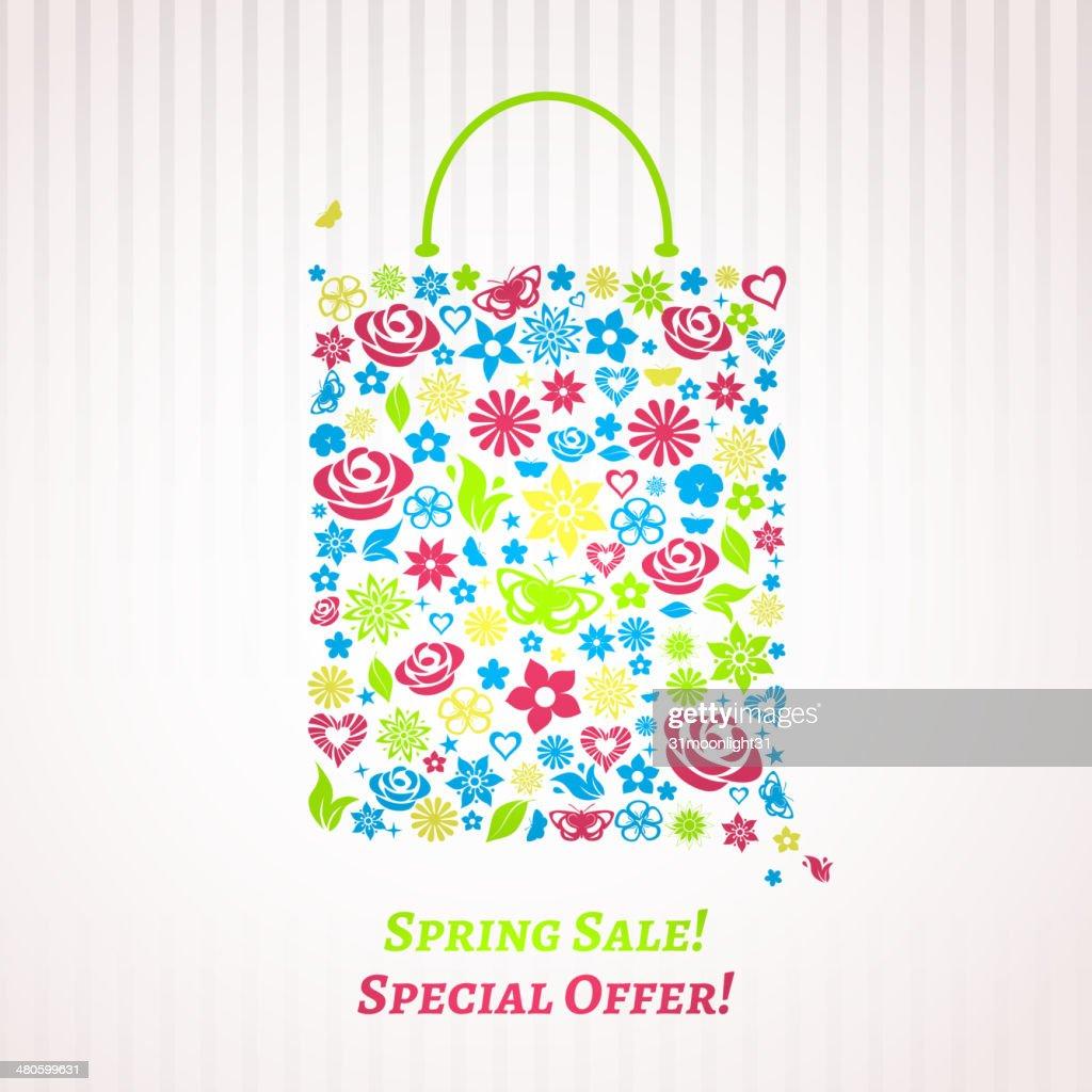 Shopping bag for Spring Sale, multicolored on white : Vector Art