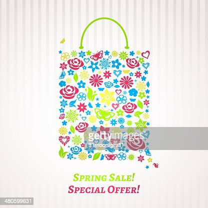 Shopping bag for Spring Sale, multicolored on white : Vector Art