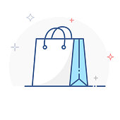 Shopping Bag Line Icon Vector. eps 10