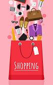 Shopping bag and item fashion gadget clothier. Illustrator vector set.Shopping bag and item fashion gadget clothier. Illustrator vector set.