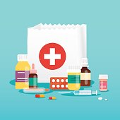 Shopping bag with medical pills and bottles. Medical concept. Flat design style modern vector illustration concept.