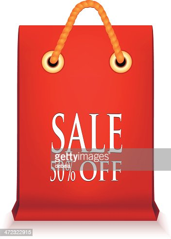Brown Paper Bag With Red Sale Tag Vector Art | Getty Images