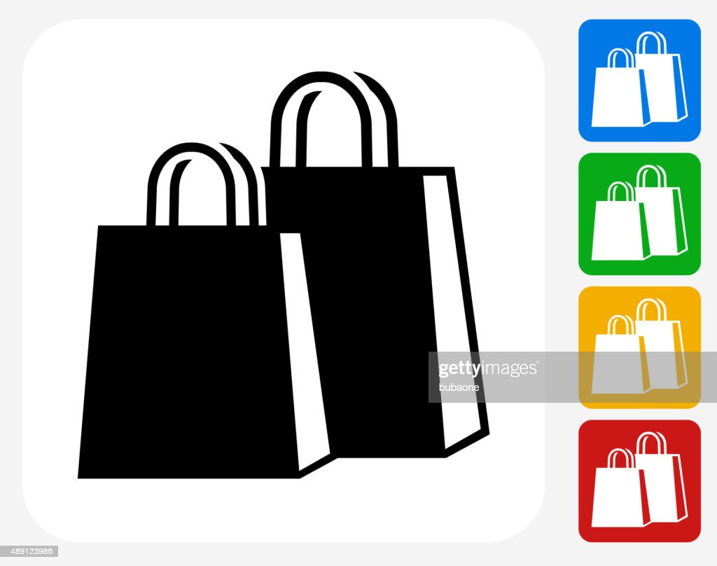 shopping bags icon flat graphic design vector art getty images