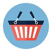 Shopping basket icon, modern minimal flat design style