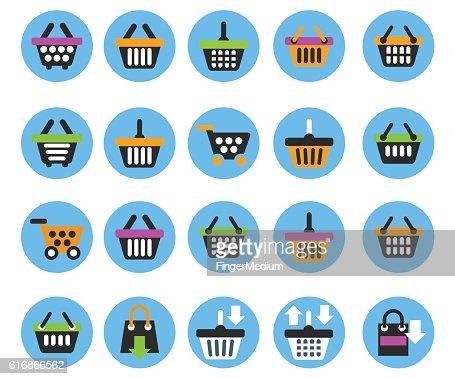 Shopping basket icons : Vector Art