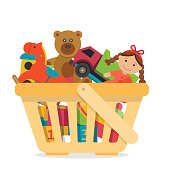 Shopping basket with toys. Flat style vector illustration.