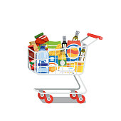 Supermarket Cart or Trolley Full of Food Products and Drinks Flat Vector Illustration Isolated on White Background. Modern Grocery Store, Food Shop or Supermarket Goods Assortment. Shopping Concept