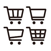 Shopping Cart Icon Set isolated on white background