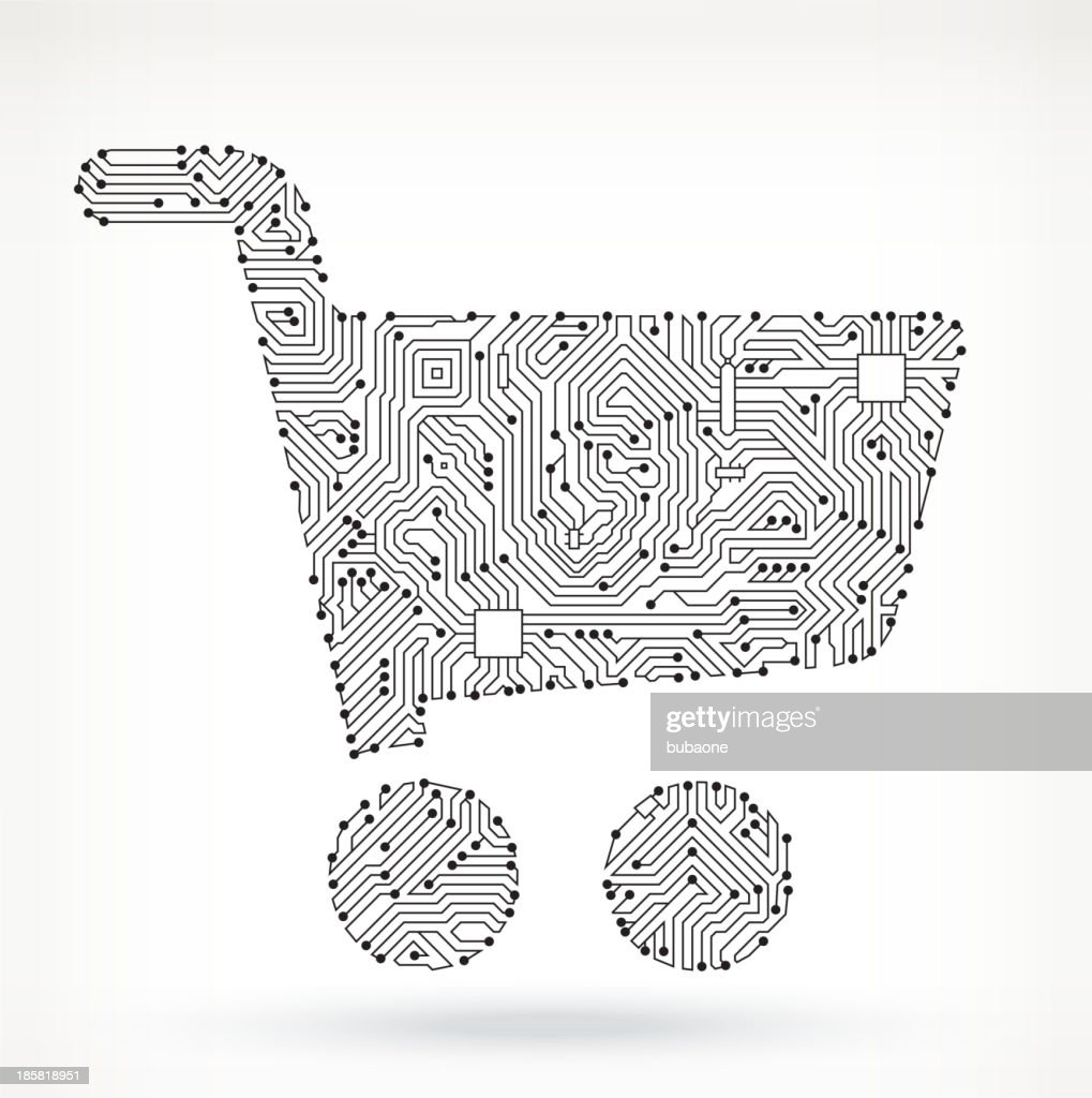 Shopping Cart On Circuit Board Vector Art   Getty Images