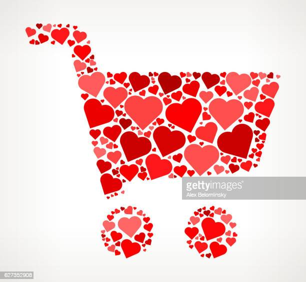 Shopping Cart Red Hearts Love Pattern