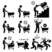 Human pictogram stick figures showing the do and don't when using a shopping cart. Do not push the shopping cart on the staircase, escalator, or putting baby or dog inside the card. Other precaution i
