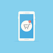 White smartphone with shopping cart icon showing one item notification vector illustration in flat style
