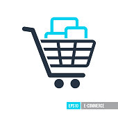 Shopping cart with boxes icon. E-commerce sign. Graph symbol for your web site design, , app, UI. Vector illustration, EPS10.