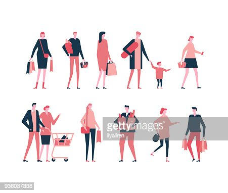 Shopping - flat design style set of isolated characters : arte vetorial