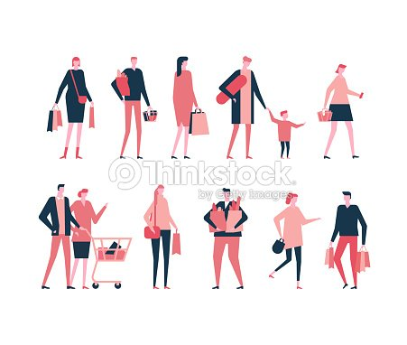 Comercial - plano diseño estilo conjunto de caracteres aislados : arte vectorial